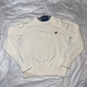 Cream American Eagle Crewneck Sweater